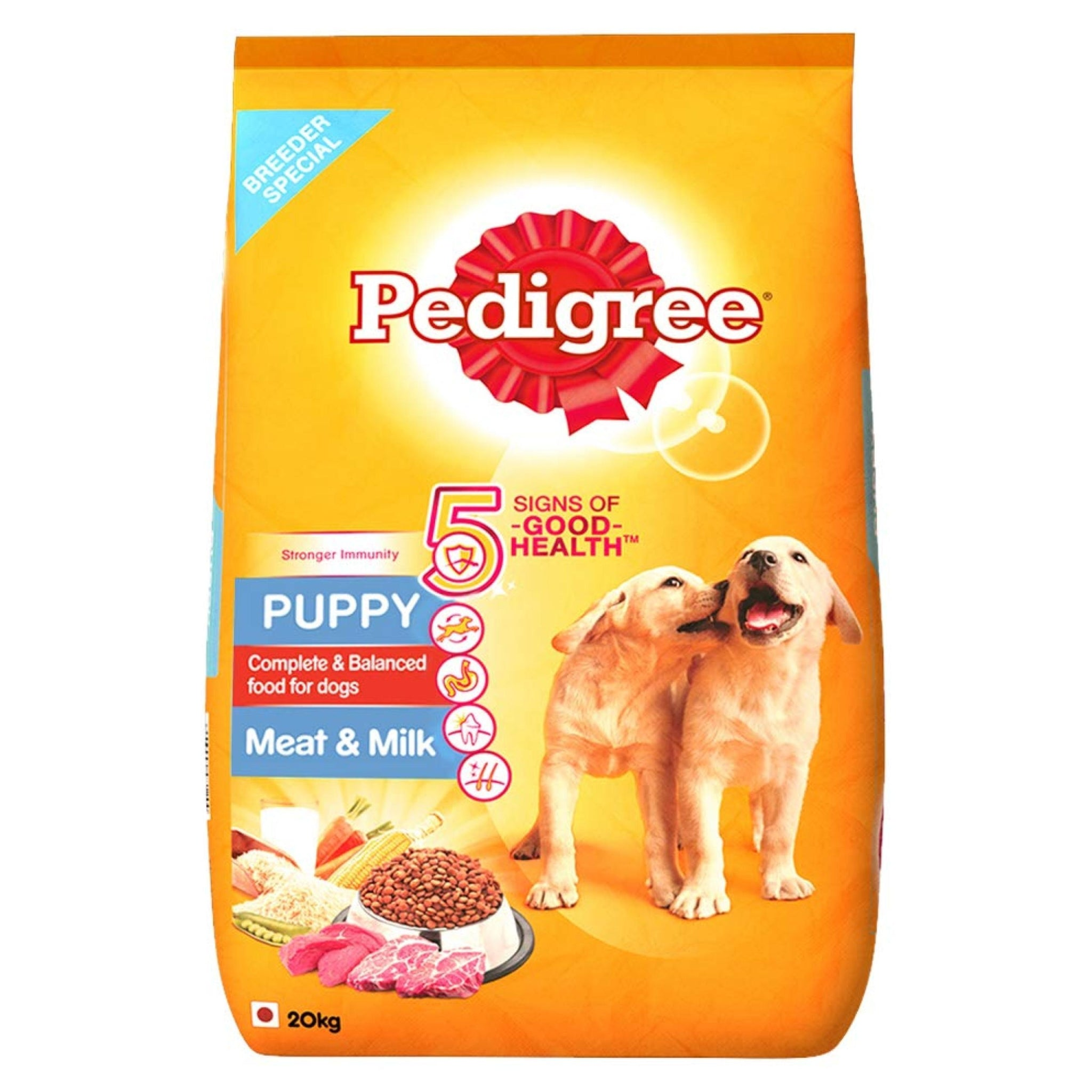 Pedigree Meat And Milk Puppy Dog Food - 20Kgs - Poochles