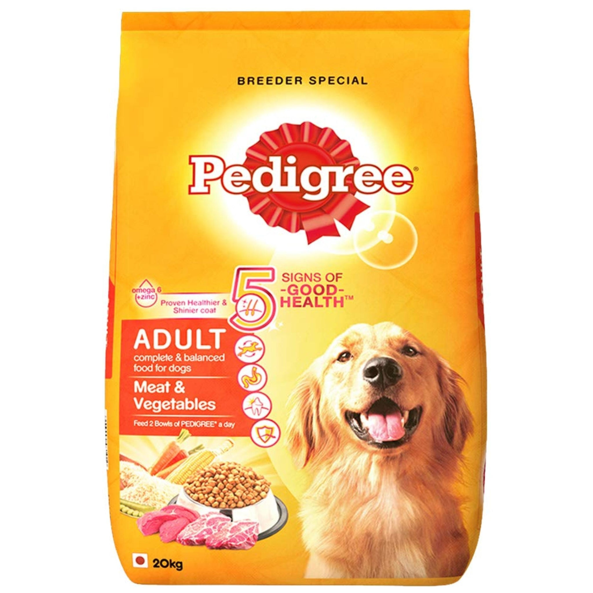 Pedigree Meat And Vegetable Adult Dog Food - 20 Kgs - Poochles