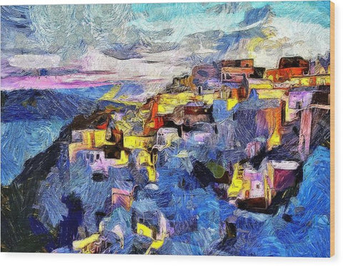 Impressions Of Santorini - Wood Print