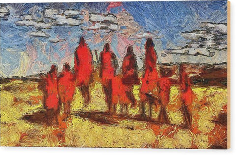 Impressions Of The Maasai - Wood Print