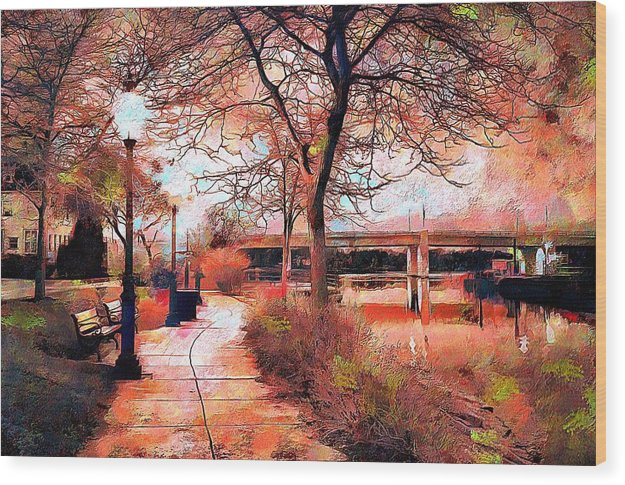 River Walk At Dusk - Wood Print