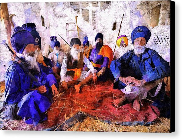 Sikh Men In Anandpur - Canvas Print