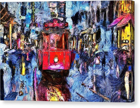Train Trolley In The City - Canvas Print