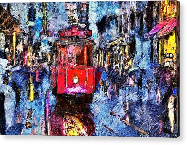 Train Trolley In The City - Acrylic Print