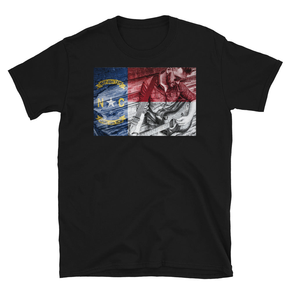 Rustic NC Flag Guitar T-Shirt