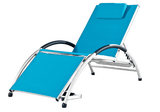 Dockside Sun Lounger – Aluminum (White frame, True Turquoise Sling) - JUST Hammocks