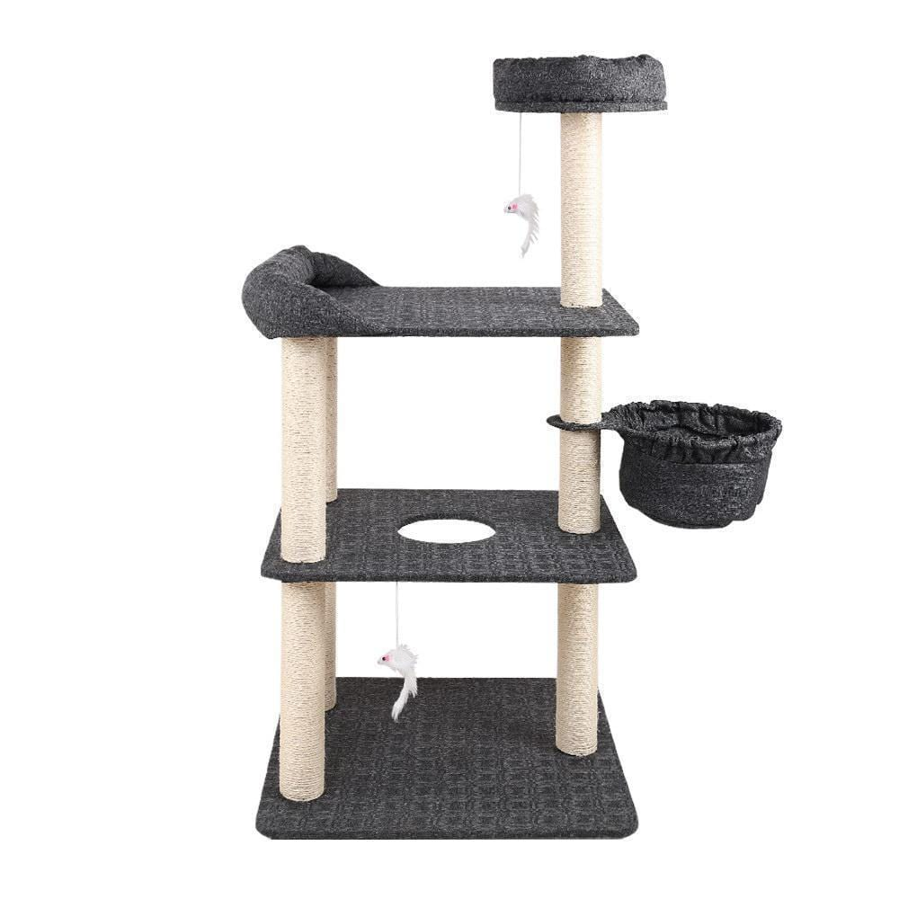 i.Pet 132cm Multi Level Cat Scratching Tree Post - Grey - JUST Hammocks