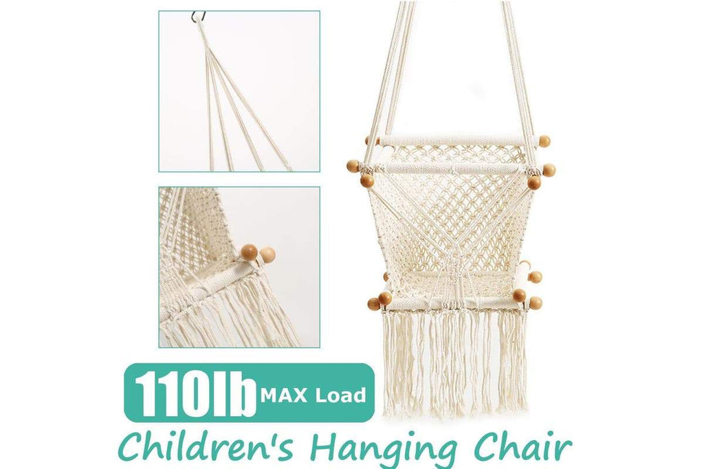 Children's Hammock Chair Swing Hanging Rope Seat Chair Indoor/Outdoor Patio Camp