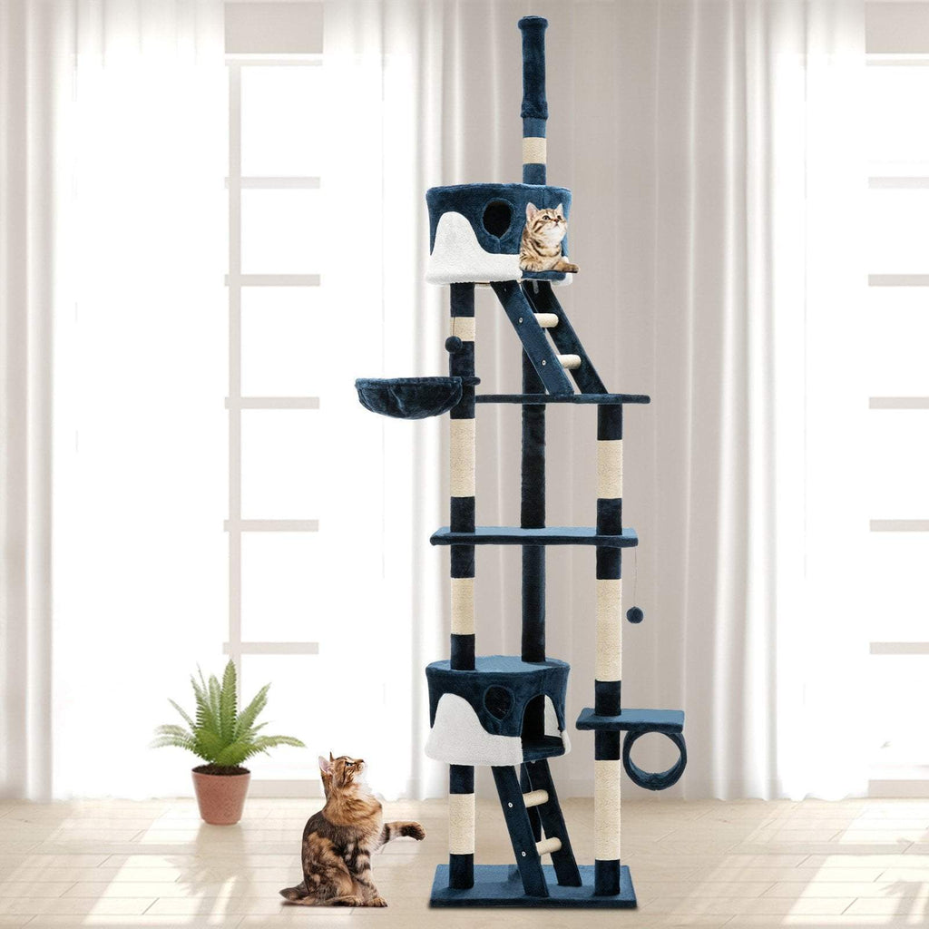 i.Pet 260cm Multi Level Cat Scratching Post - Blue - JUST Hammocks