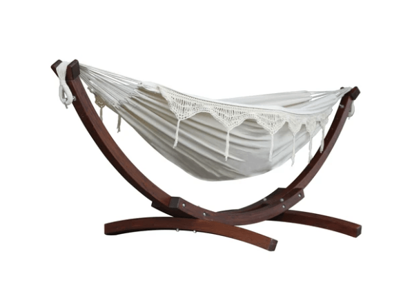 Double Cotton Hammock with Solid Pine Arc Stand - Natural - JUST Hammocks