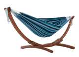 Double Cotton Hammock with Solid Pine Arc Stand - Blue Lagoon - JUST Hammocks