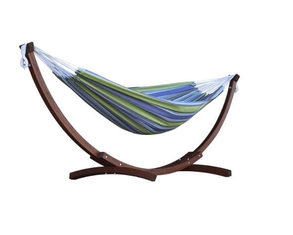 Double Cotton Hammock With Solid Pine Arc Hammock Stand – Oasis - JUST Hammocks