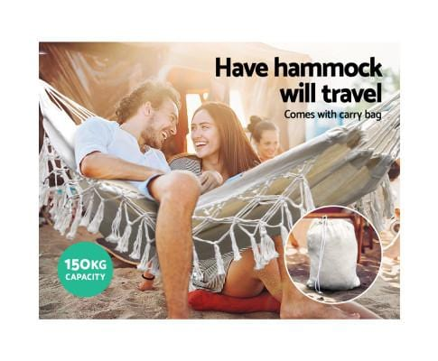 Gardeon Hanging Tassel Hammock Swing Bed Cream (Without A Stand) - JUST Hammocks