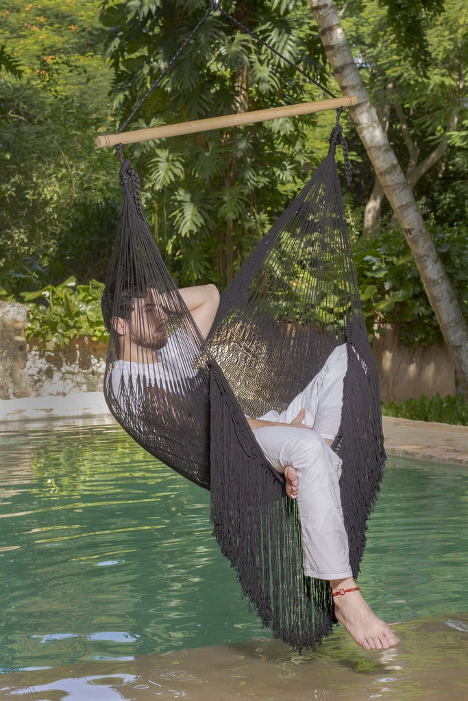Extra Large Mexican Hammock Chair in Outdoor Cotton with Fringe Black - JUST Hammocks