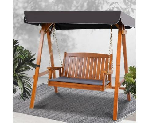 Gardeon Swing Chair Wooden Garden Bench Canopy 2 Seater Outdoor Furniture
