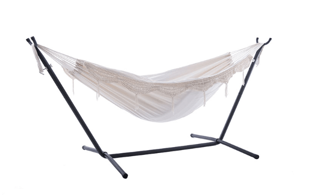 Hammock Combo - Double Deluxe Natural with Fringe Hammock with Stand (250cm) - JUST Hammocks
