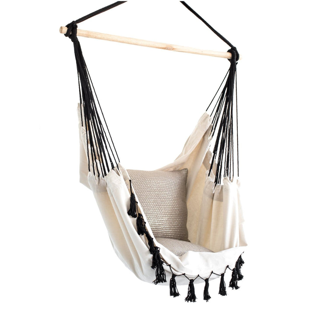 Cream Swing Chair with Black Rope - JUST Hammocks