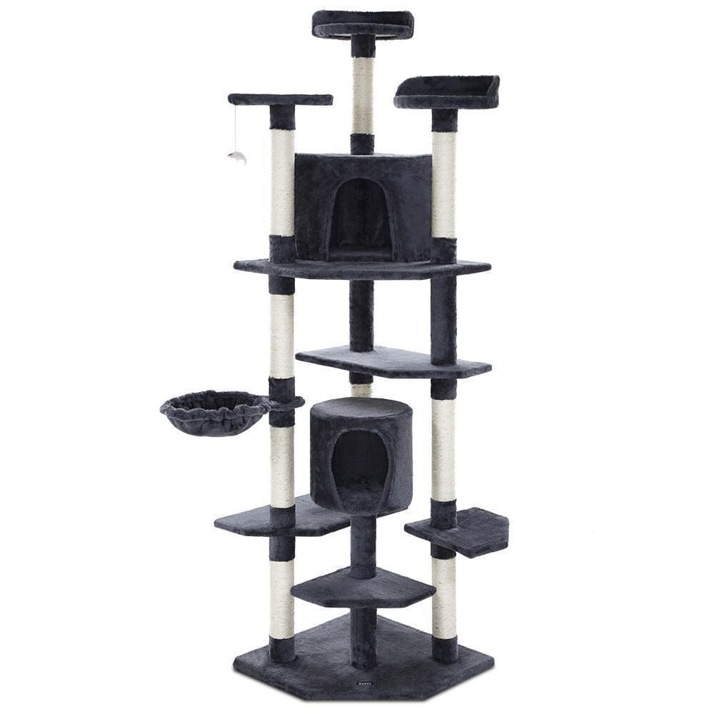 i.Pet Cat Tree Trees Scratching Post Scratcher Tower Condo House Furniture Wood - JUST Hammocks