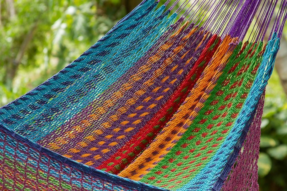 Deluxe Outdoor Cotton Mexican Hammock  in Colorina Colour - JUST Hammocks