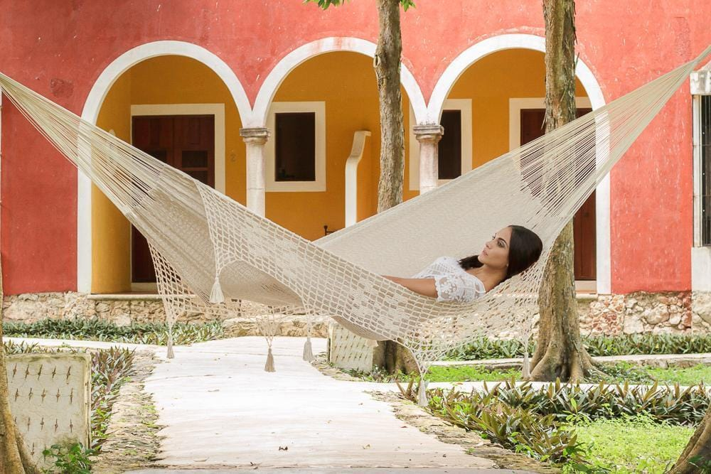 Deluxe Outdoor Cotton Mexican Hammock  in Cream Colour Queen Size - JUST Hammocks