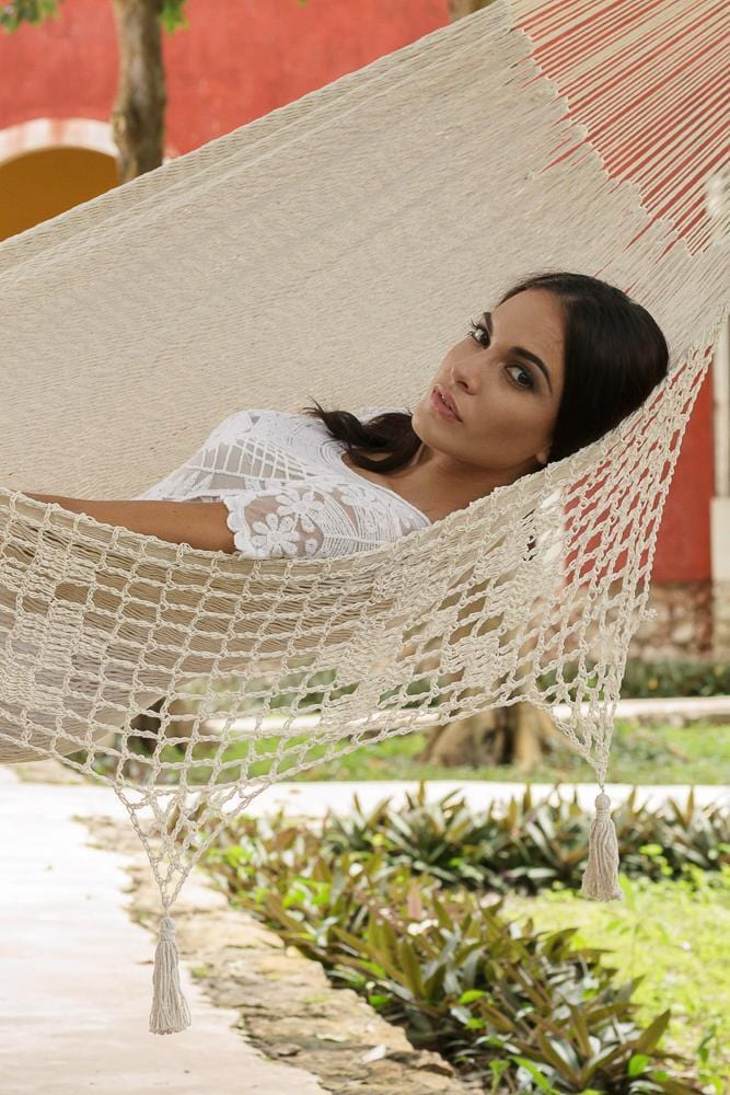 Deluxe Outdoor Cotton Mexican Hammock  in Cream Colour King Size - JUST Hammocks