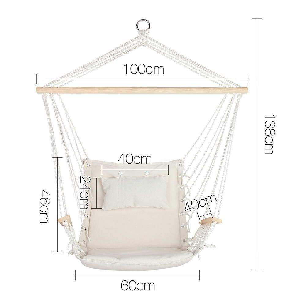 Gardeon Hammock Hanging Swing Chair - Cream - JUST Hammocks