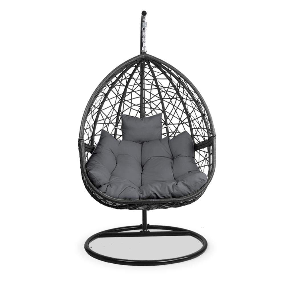 Gardeon Outdoor Hanging Swing Chair - Black - JUST Hammocks