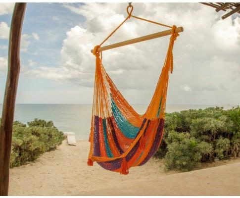 Extra Large Mexican Hammock Chair in Outdoor Cotton Colour Alegra - JUST Hammocks