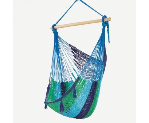 Extra Large Mexican Hammock Chair in Outdoor Cotton Colour Caribe - JUST Hammocks