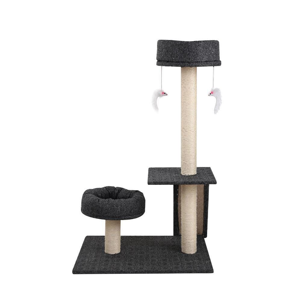 i.Pet 102cm Multi Level Cat Scratching Tree Post - Grey - JUST Hammocks