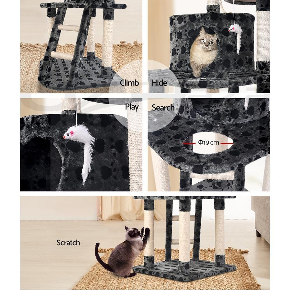 i.Pet Cat Tree Trees Scratching Post Scratcher Tower Condo House Furniture Wood Grey - JUST Hammocks
