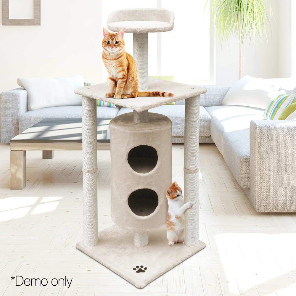 123cm Multi Level Cat Scratching Post - Beige - JUST Hammocks
