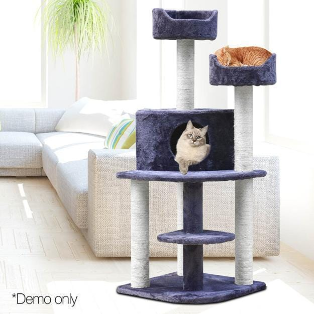 i.Pet 126cm Multi Level Cat Scratching Tree - Grey - JUST Hammocks