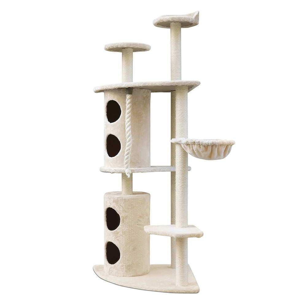 i.Pet Cat Tree Trees Scratching Post Scratcher Tower Condo House Furniture Wood Beige - JUST Hammocks