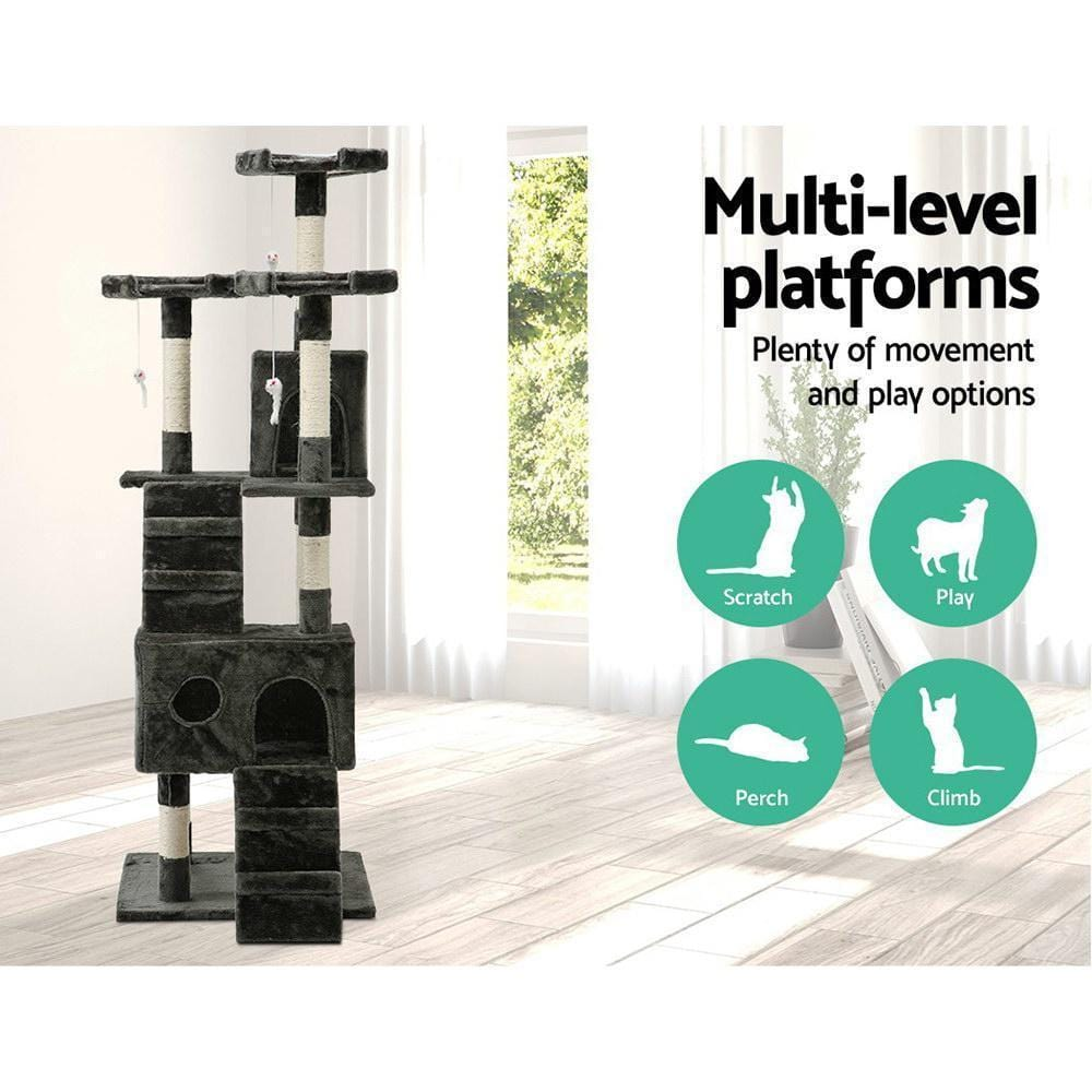i.Pet 180cm Multi Level Cat Scratching Post - Grey - JUST Hammocks