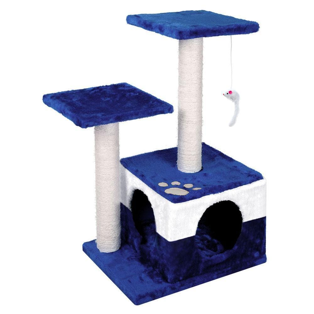 70cm Cat Scracthing Tree - Blue & white - JUST Hammocks
