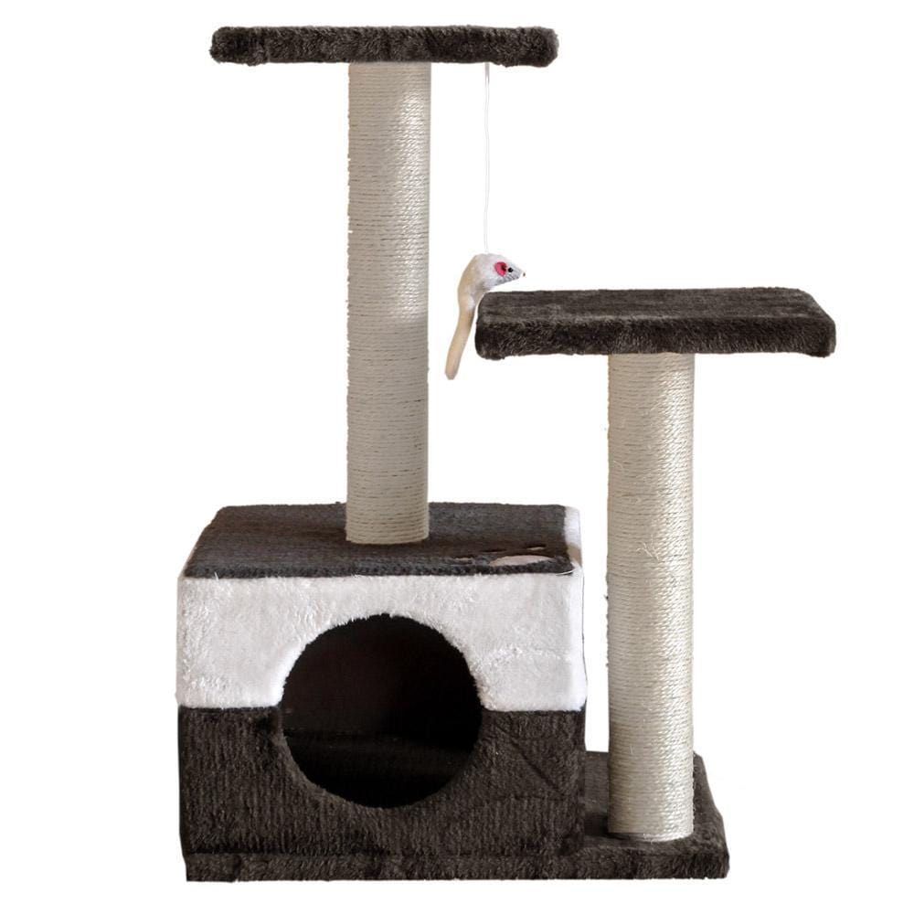 70cm Cat Scratching Tree Gym Post - White and Dark Grey - JUST Hammocks