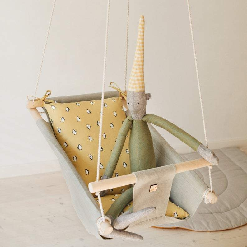 PENGUIN Linen Baby Swing Chair 0-36 Months - JUST Hammocks