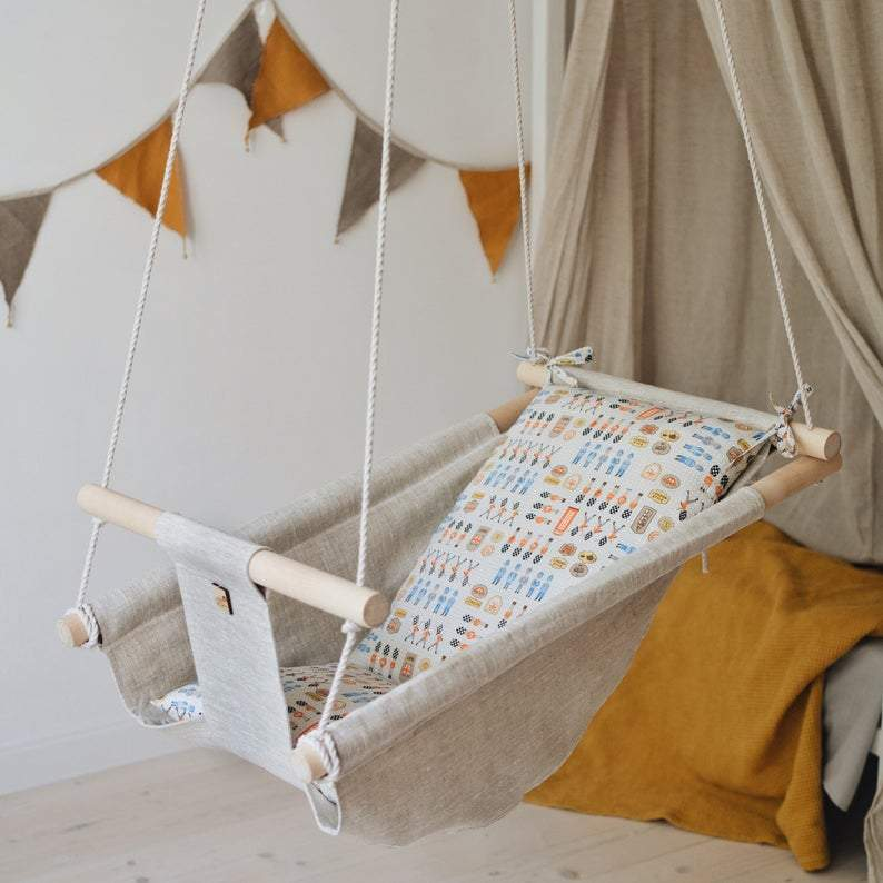 LONDON Baby Linen Swing Chair and Hanging Cradle - JUST Hammocks