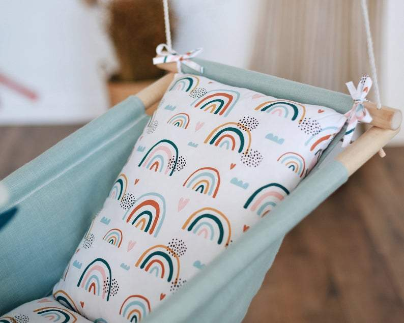 RAINBOW Baby Linen Swing Chair and Hanging Cradle - JUST Hammocks