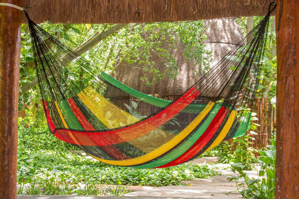 Jumbo Size Cotton Hammock in Rasta - JUST Hammocks