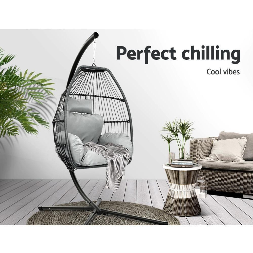 Gardeon Outdoor Furniture Egg Hammock Hanging Swing Chair Stand Pod Wicker Grey - JUST Hammocks