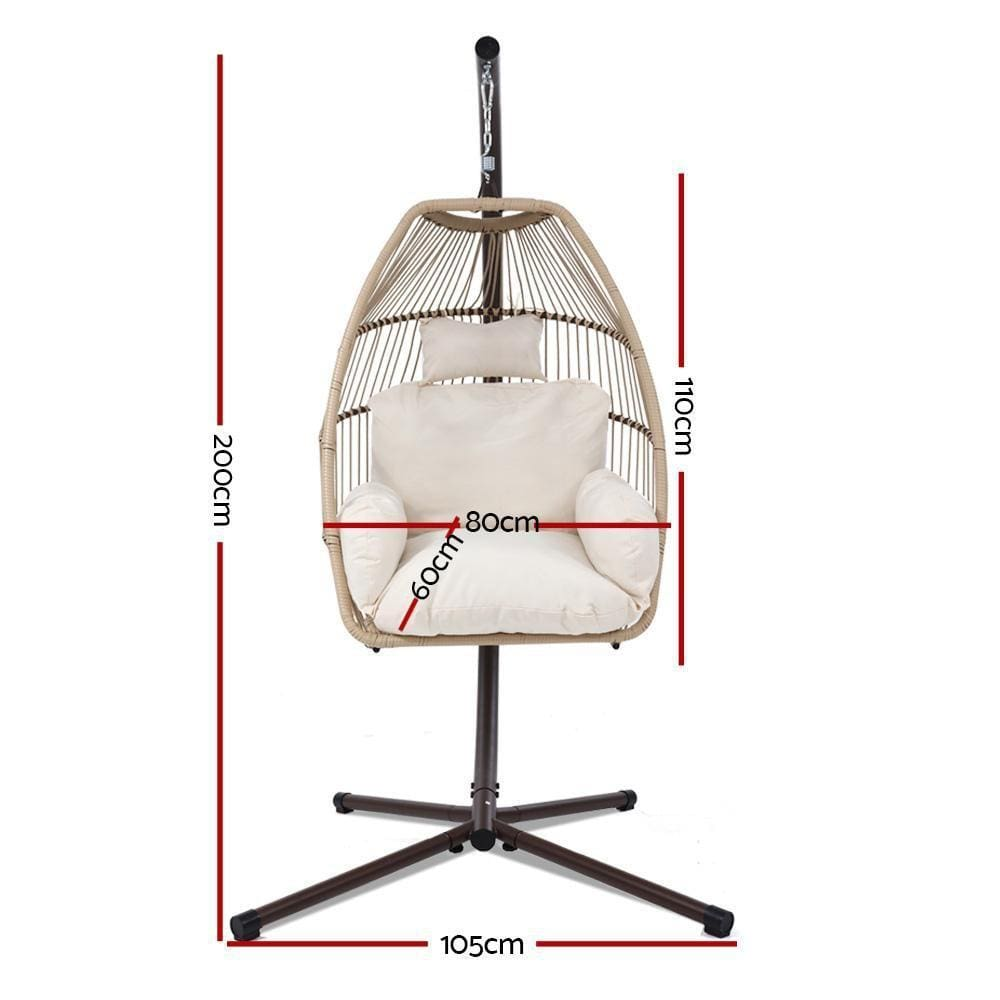 Gardeon Outdoor Furniture Egg Hanging Swing Chair Stand Wicker Rattan Hammock - JUST Hammocks