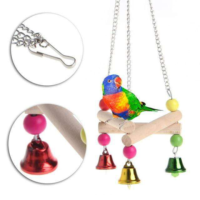 Pet Bird Parrot Wood Hammock Swing Stand - JUST Hammocks
