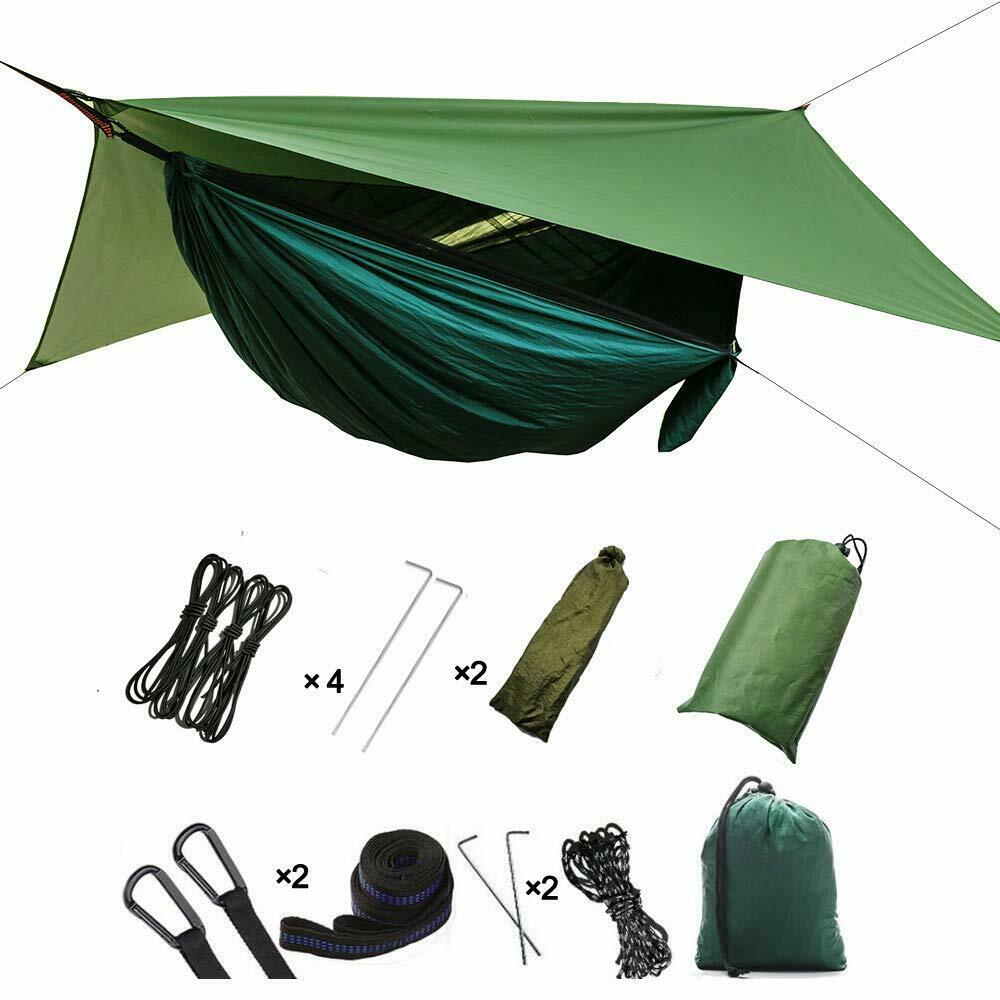 3In1 Camping Hammock Tent Hanging 2 Person Parachute Tent Outdoor Swing Fly Tarp - JUST Hammocks