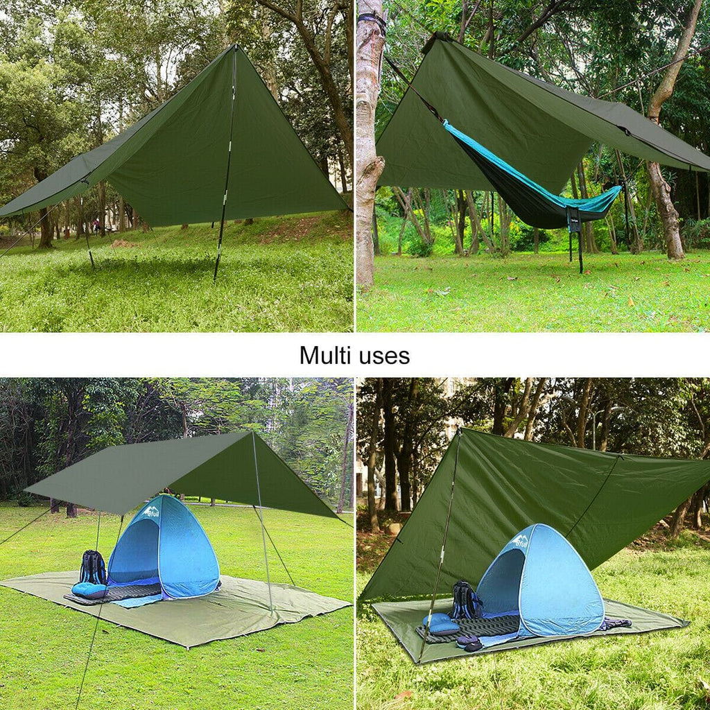 Camping Tarp Shelter Waterproof Hammock Rain Fly Tent Picnic Blanket 3x3m - JUST Hammocks