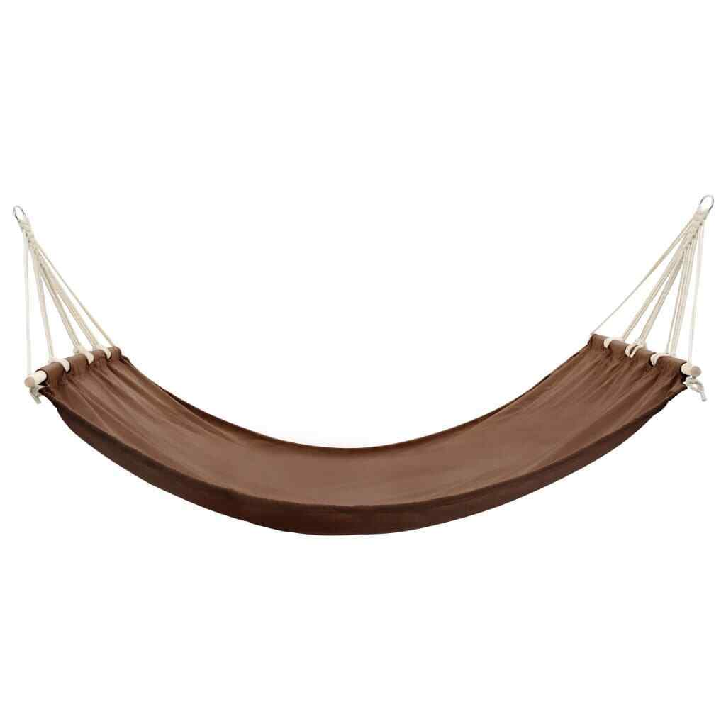 Hammock with Bar 210x150 Outdoor Camping Swing Sunbed Chair Cream/Brown - JUST Hammocks