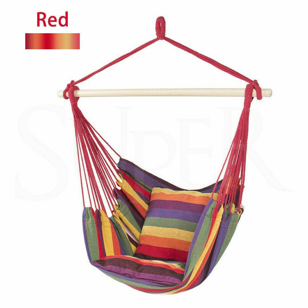 Garden Deluxe Hanging Hammock Chair Outdoor Camping Swing (Red) - JUST Hammocks