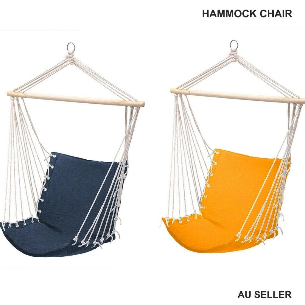 Hanging Swing Hammock Chair with Stick Sponge Cushion Indoor Outdoor Rope 2color - JUST Hammocks