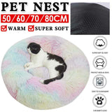 Cat Calming Bed Warm Soft Plush Round Nest Comfy Sleeping Kennel - JUST Hammocks